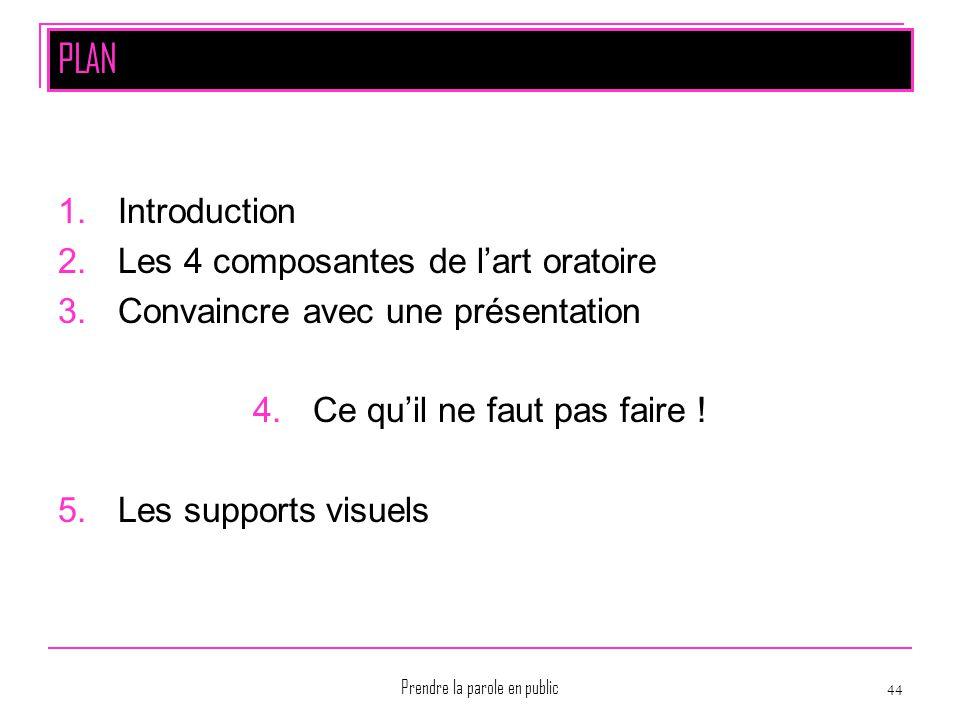 Prendre la parole en public 44 PLAN 1.Introduction 2.Les 4 composantes de l'art oratoire 3.Convaincre avec une présentation 4.Ce qu'il ne faut pas fai