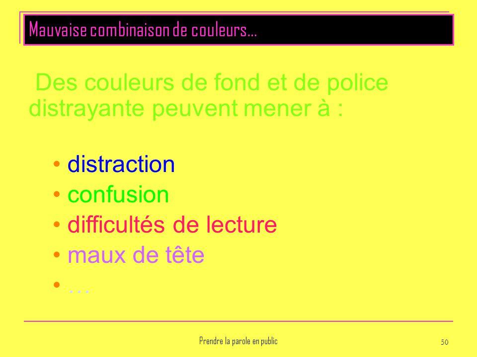 Prendre la parole en public 50 Des couleurs de fond et de police distrayante peuvent mener à : distraction confusion difficultés de lecture maux de tê