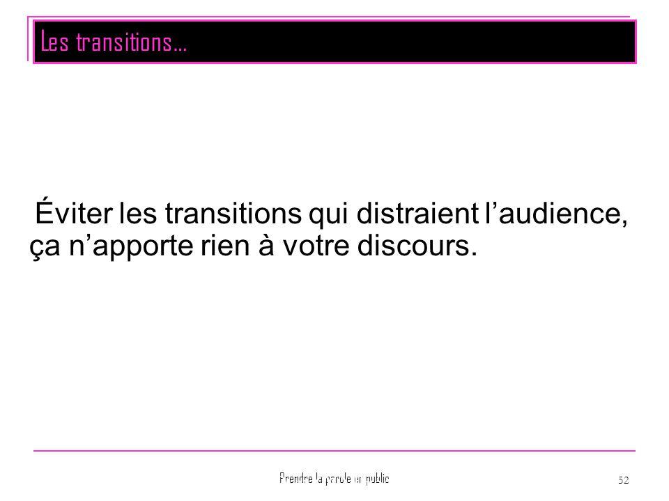Prendre la parole en public 52 Montpellier La PréAO et OO Présentation Éviter les transitions qui distraient l'audience, ça n'apporte rien à votre dis