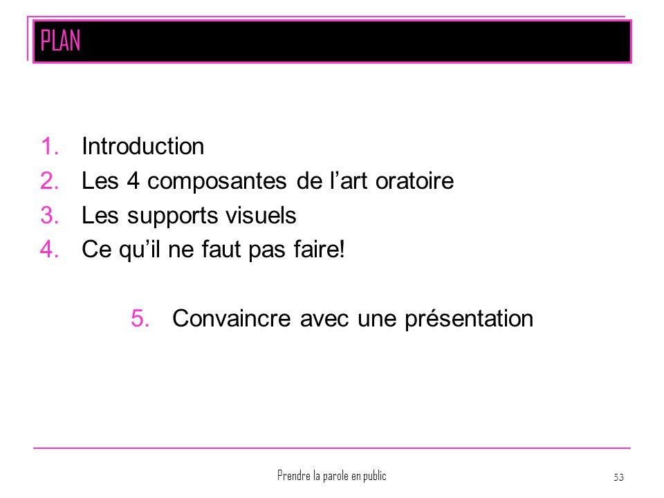 Prendre la parole en public 53 PLAN 1.Introduction 2.Les 4 composantes de l'art oratoire 3.Les supports visuels 4.Ce qu'il ne faut pas faire! 5.Convai