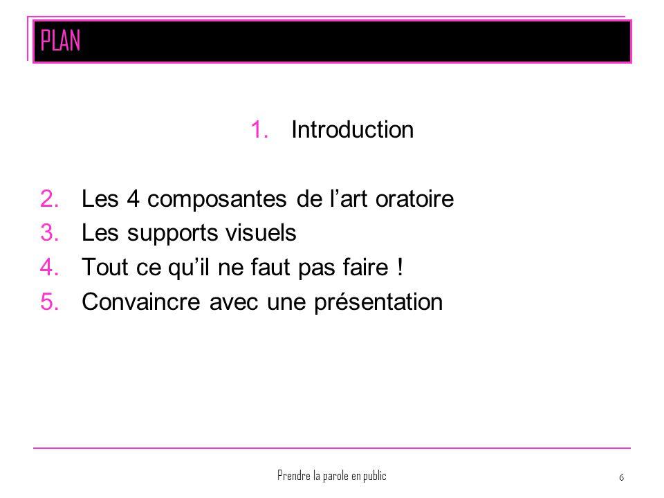 Prendre la parole en public 6 PLAN 1.Introduction 2.Les 4 composantes de l'art oratoire 3.Les supports visuels 4.Tout ce qu'il ne faut pas faire ! 5.C