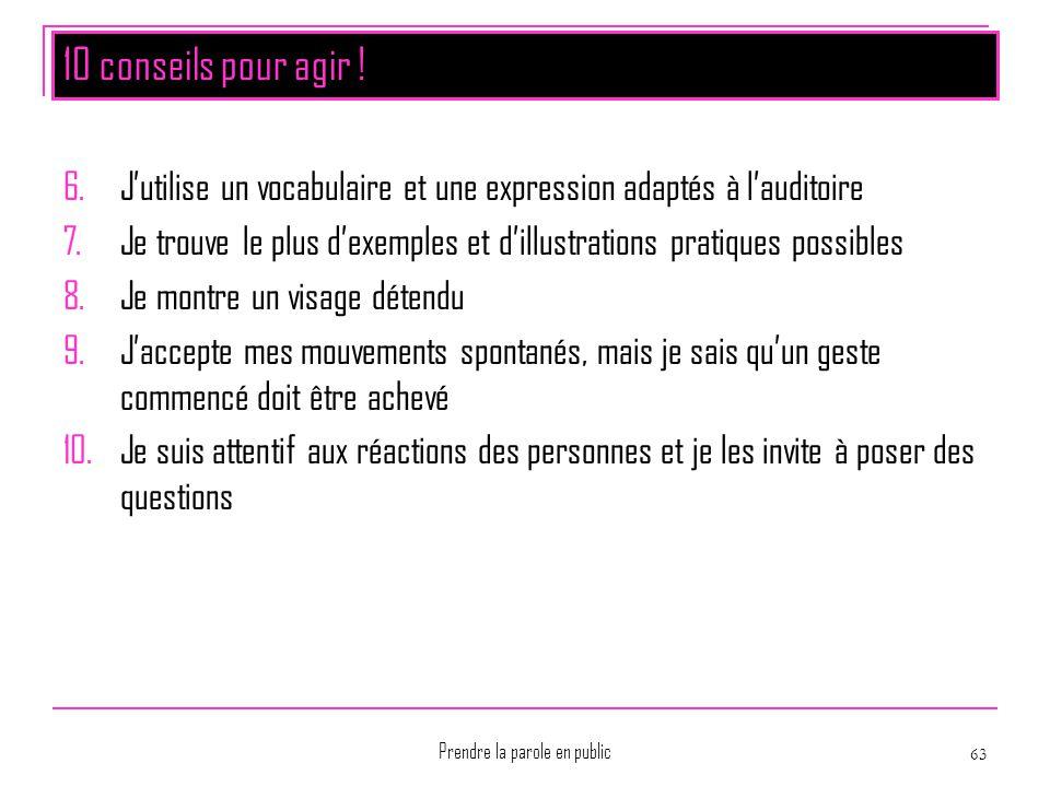 Prendre la parole en public 63 10 conseils pour agir ! 6.J'utilise un vocabulaire et une expression adaptés à l'auditoire 7.Je trouve le plus d'exempl