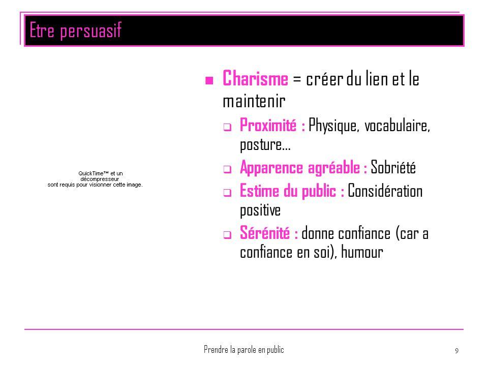 Prendre la parole en public 9 Etre persuasif Charisme = créer du lien et le maintenir  Proximité : Physique, vocabulaire, posture…  Apparence agréab
