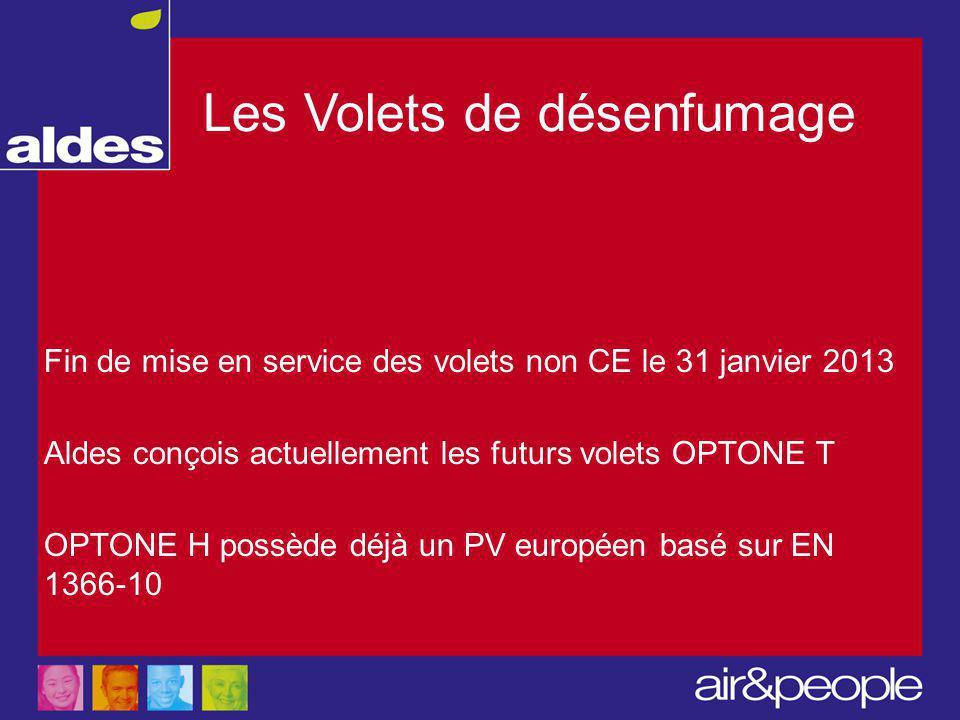 Les Volets de désenfumage Fin de mise en service des volets non CE le 31 janvier 2013 Aldes conçois actuellement les futurs volets OPTONE T OPTONE H possède déjà un PV européen basé sur EN 1366-10