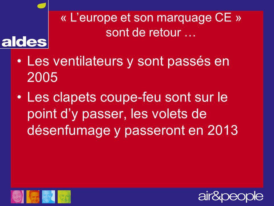 « L'europe et son marquage CE » sont de retour … Les ventilateurs y sont passés en 2005 Les clapets coupe-feu sont sur le point d'y passer, les volets de désenfumage y passeront en 2013