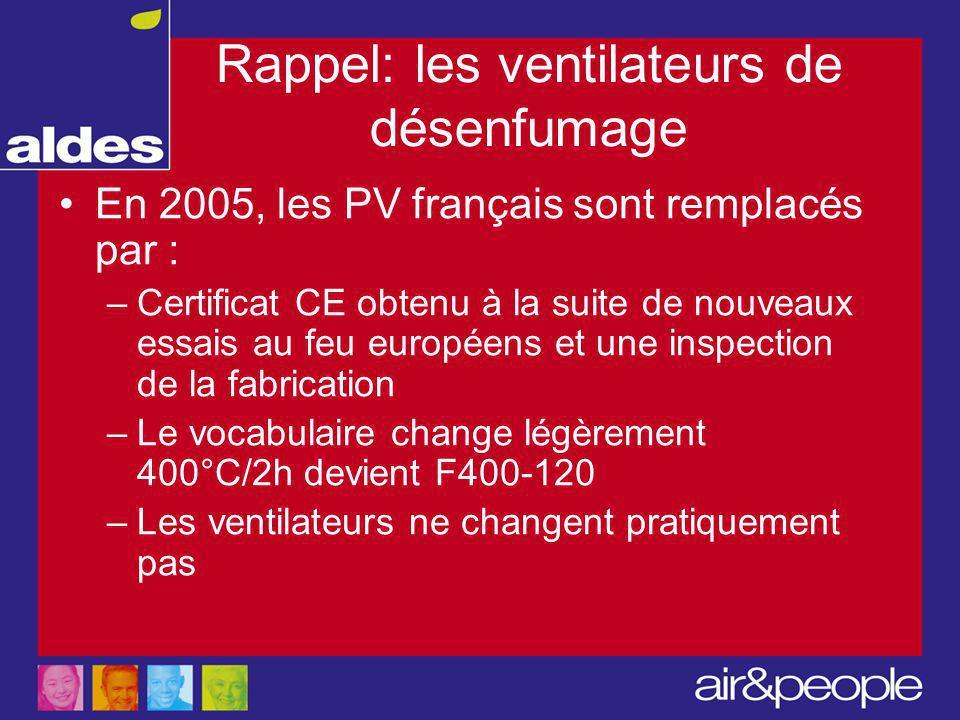 Rappel: les ventilateurs de désenfumage En 2005, les PV français sont remplacés par : –Certificat CE obtenu à la suite de nouveaux essais au feu européens et une inspection de la fabrication –Le vocabulaire change légèrement 400°C/2h devient F400-120 –Les ventilateurs ne changent pratiquement pas