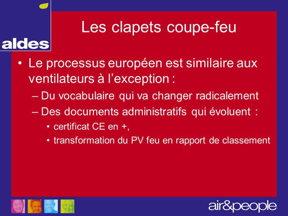 Les clapets coupe-feu Le processus européen est similaire aux ventilateurs à l'exception : –Du vocabulaire qui va changer radicalement –Des documents administratifs qui évoluent : certificat CE en +, transformation du PV feu en rapport de classement