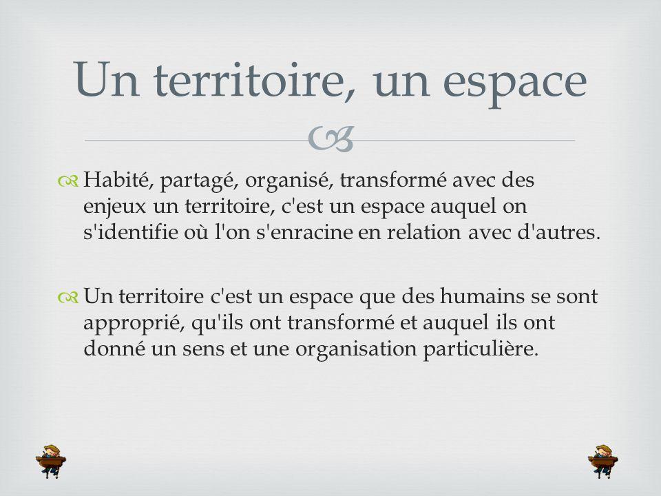   Habité, partagé, organisé, transformé avec des enjeux un territoire, c'est un espace auquel on s'identifie où l'on s'enracine en relation avec d'a