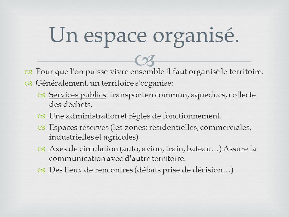  Un espace organisé.  Pour que l'on puisse vivre ensemble il faut organisé le territoire.  Généralement, un territoire s'organise:  Services publi