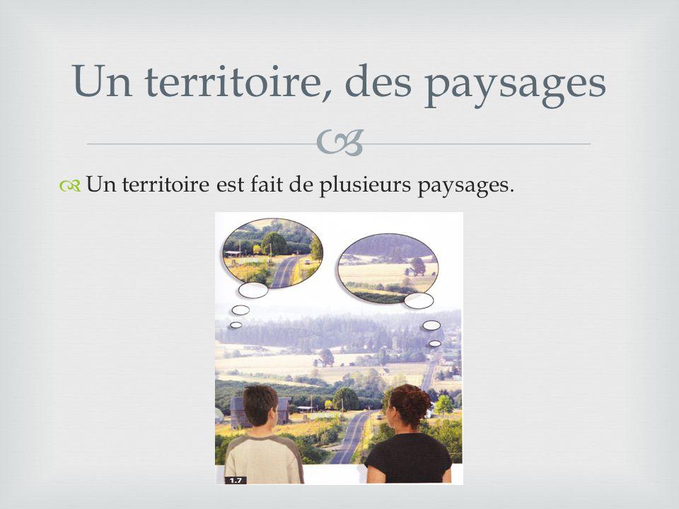  Un territoire, des paysages  Un territoire est fait de plusieurs paysages.