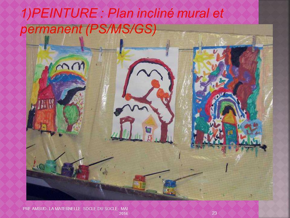 23 1)PEINTURE : Plan incliné mural et permanent (PS/MS/GS) PRF AMSUD- LA MATERNELLE SOCLE DU SOCLE- MAI 2014