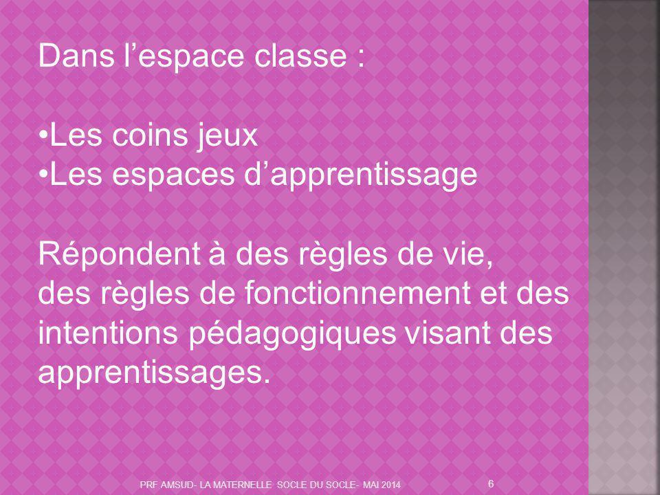 6 Dans l'espace classe : Les coins jeux Les espaces d'apprentissage Répondent à des règles de vie, des règles de fonctionnement et des intentions péda