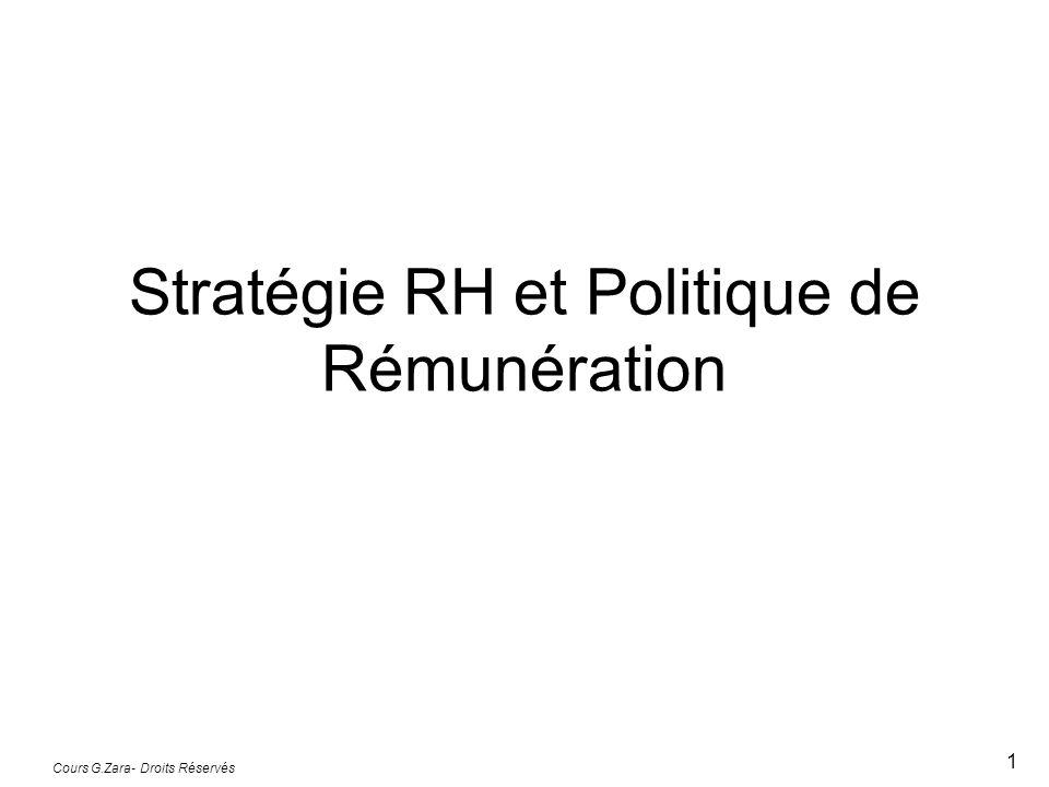 Cours G.Zara- Droits Réservés 1 Stratégie RH et Politique de Rémunération