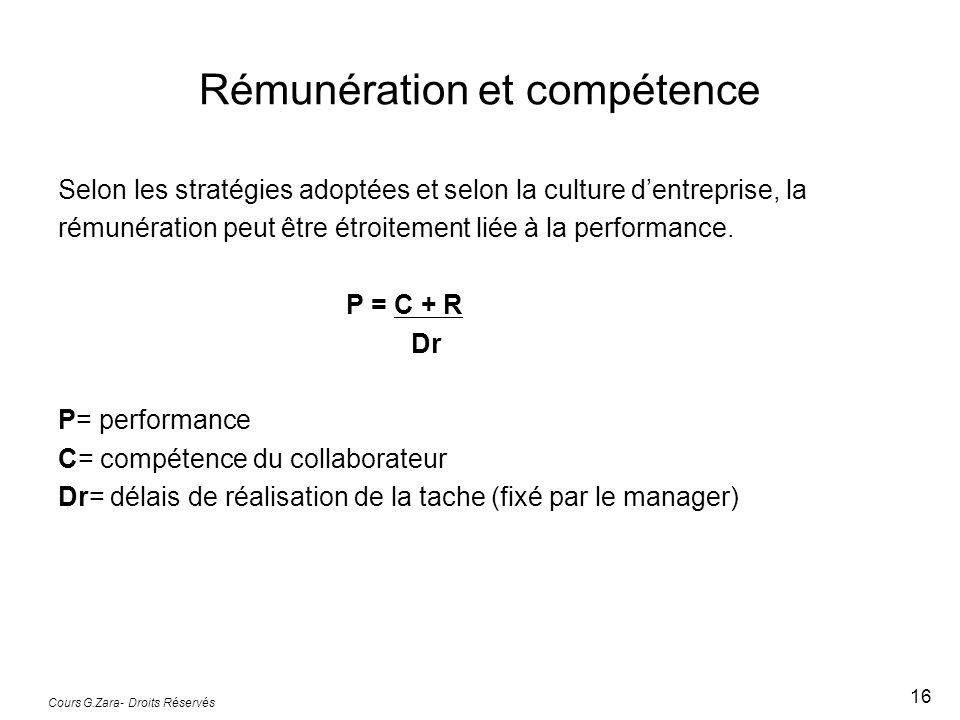 Rémunération et compétence Selon les stratégies adoptées et selon la culture d'entreprise, la rémunération peut être étroitement liée à la performance