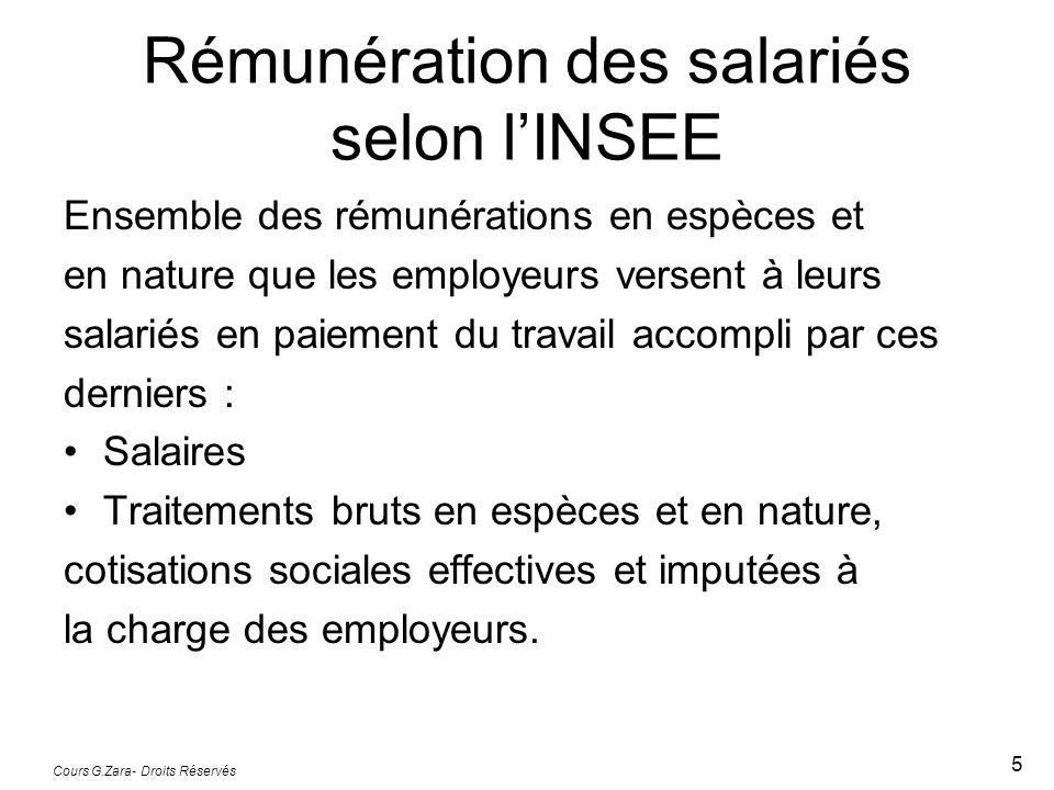 Cours G.Zara- Droits Réservés 5 Rémunération des salariés selon l'INSEE Ensemble des rémunérations en espèces et en nature que les employeurs versent