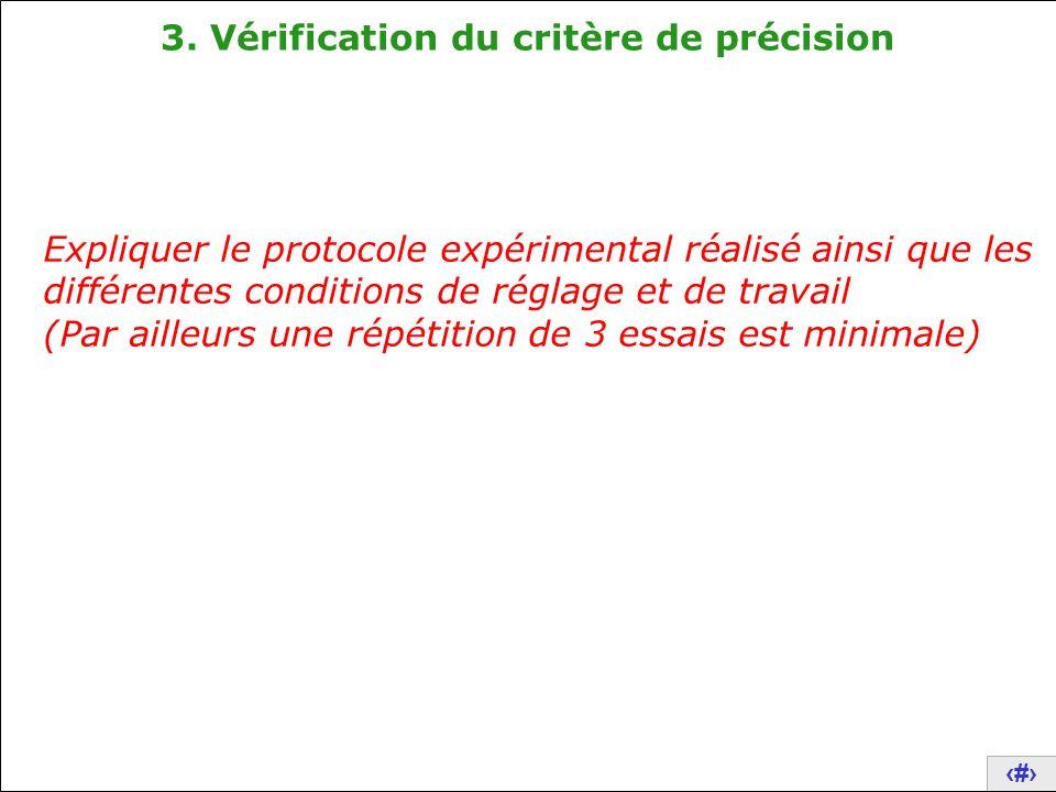 21 3. Vérification du critère de précision Expliquer le protocole expérimental réalisé ainsi que les différentes conditions de réglage et de travail (