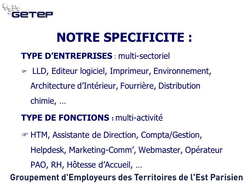 NOTRE SPECIFICITE : TYPE D'ENTREPRISES : multi-sectoriel  LLD, Editeur logiciel, Imprimeur, Environnement, Architecture d'Intérieur, Fourrière, Distr
