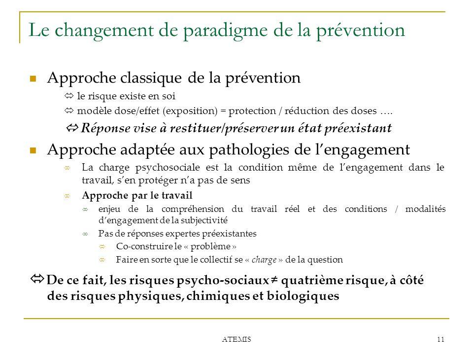 11 ATEMIS Le changement de paradigme de la prévention Approche classique de la prévention  le risque existe en soi  modèle dose/effet (exposition) =