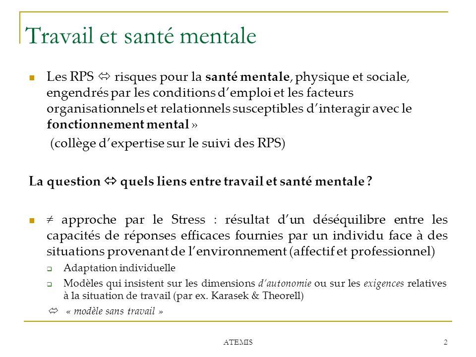 2 ATEMIS Travail et santé mentale Les RPS  risques pour la santé mentale, physique et sociale, engendrés par les conditions d'emploi et les facteurs