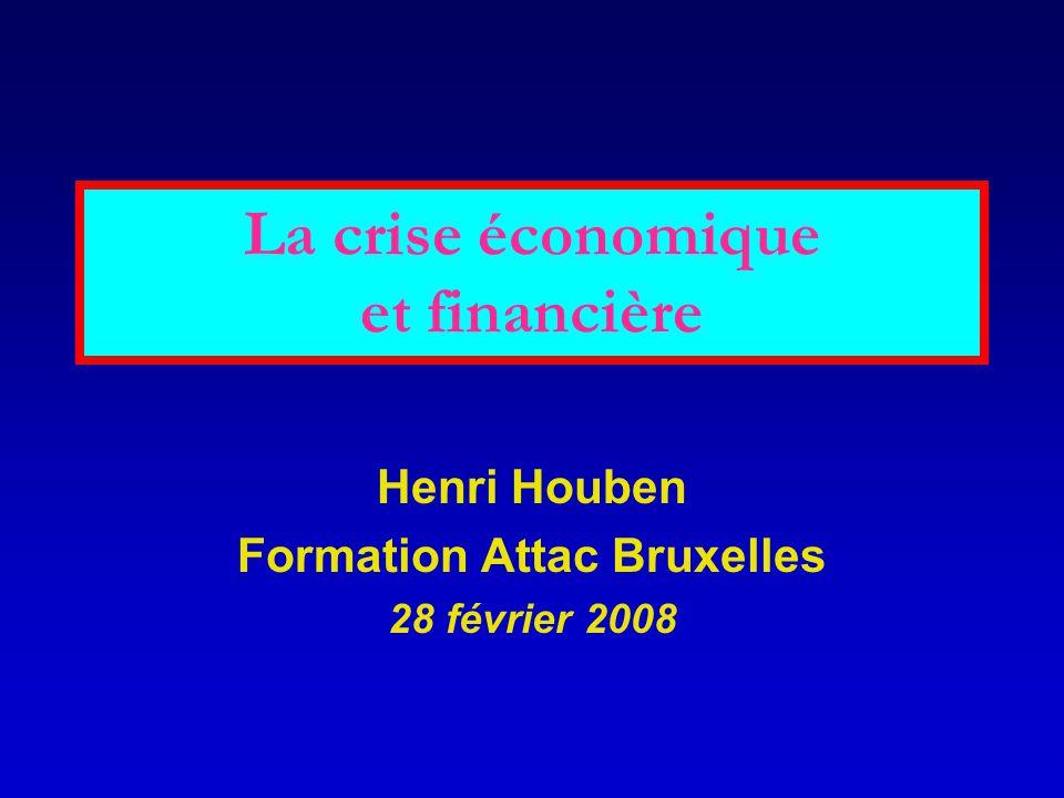 La crise économique et financière Henri Houben Formation Attac Bruxelles 28 février 2008