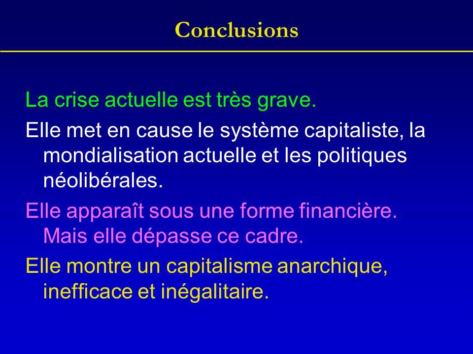 Conclusions La crise actuelle est très grave. Elle met en cause le système capitaliste, la mondialisation actuelle et les politiques néolibérales. Ell