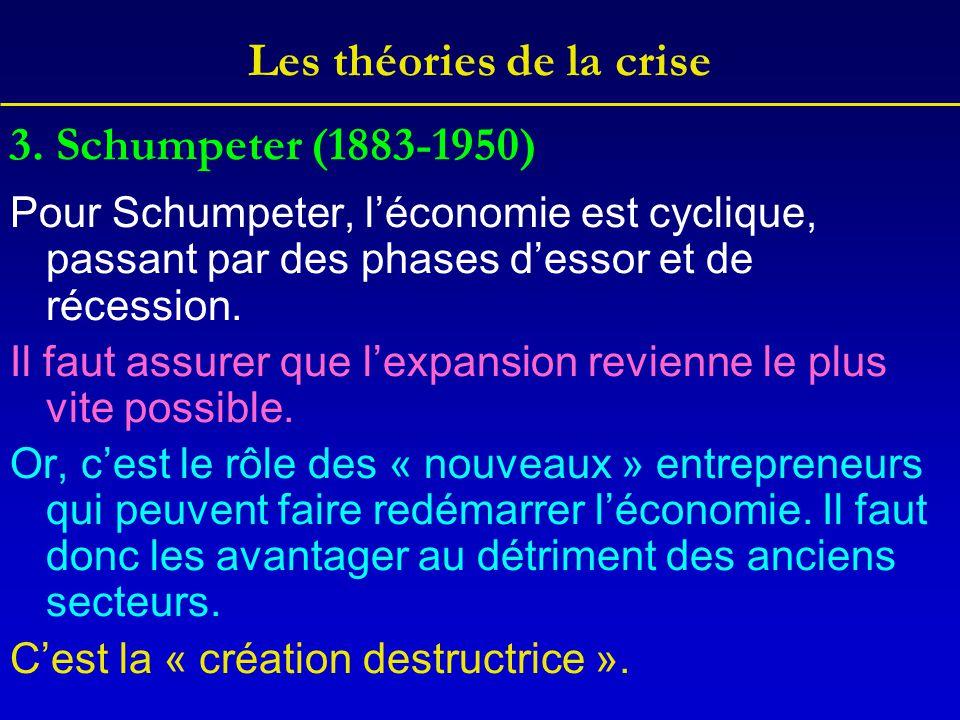 Les théories de la crise Pour Schumpeter, l'économie est cyclique, passant par des phases d'essor et de récession. Il faut assurer que l'expansion rev