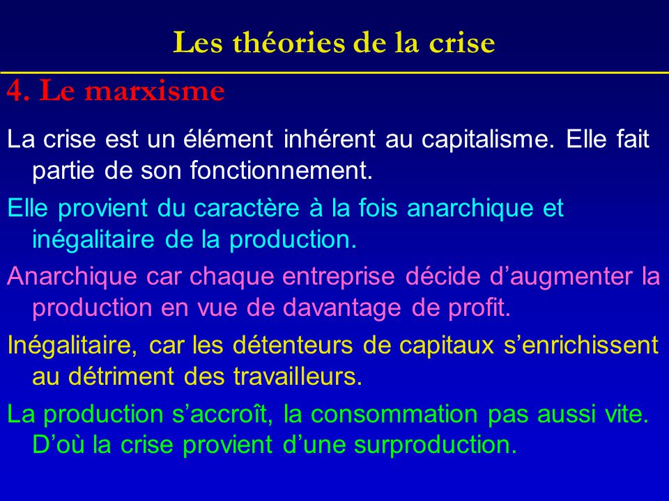 Les théories de la crise La crise est un élément inhérent au capitalisme. Elle fait partie de son fonctionnement. Elle provient du caractère à la fois