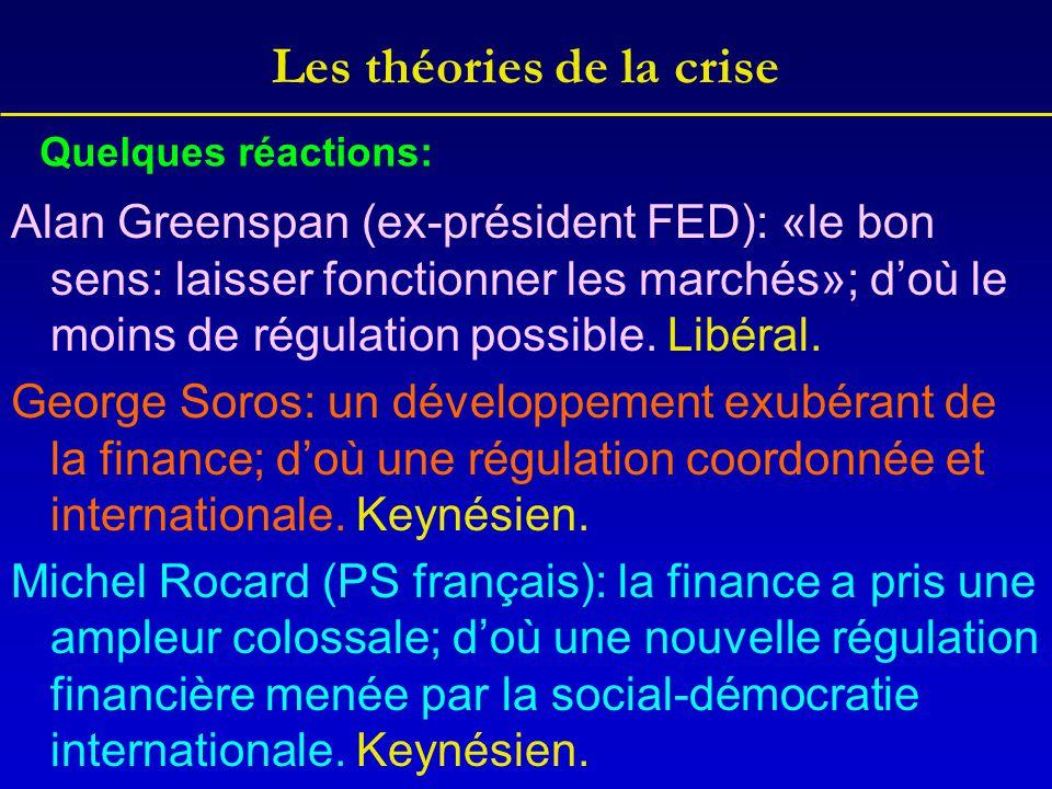 Les théories de la crise Alan Greenspan (ex-président FED): «le bon sens: laisser fonctionner les marchés»; d'où le moins de régulation possible. Libé