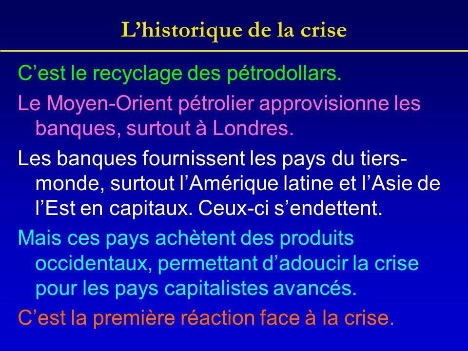 L'historique de la crise C'est le recyclage des pétrodollars. Le Moyen-Orient pétrolier approvisionne les banques, surtout à Londres. Les banques four