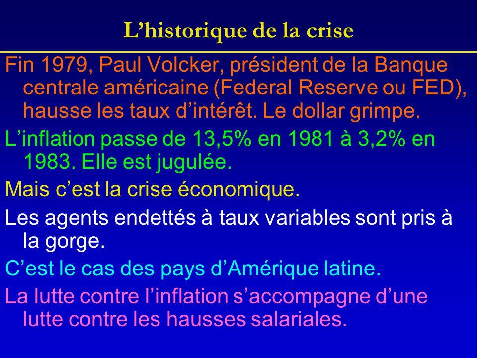 L'historique de la crise Fin 1979, Paul Volcker, président de la Banque centrale américaine (Federal Reserve ou FED), hausse les taux d'intérêt. Le do