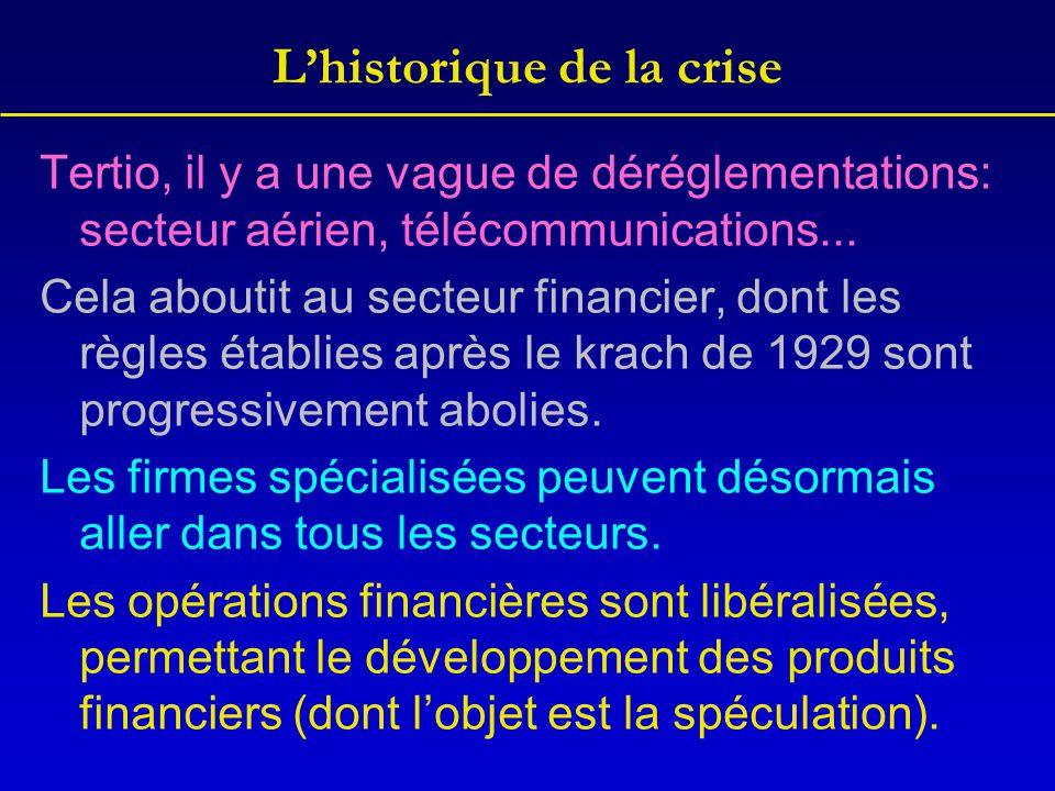 L'historique de la crise Tertio, il y a une vague de déréglementations: secteur aérien, télécommunications... Cela aboutit au secteur financier, dont