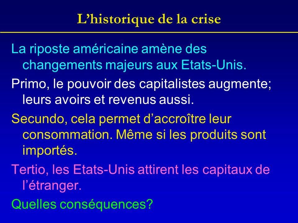L'historique de la crise La riposte américaine amène des changements majeurs aux Etats-Unis. Primo, le pouvoir des capitalistes augmente; leurs avoirs