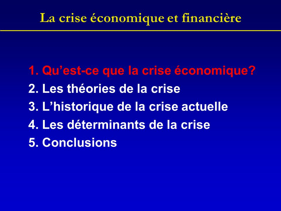 L'historique de la crise Banque Ménage 1 (confortable) Ménage 2 (intermédiaire) Ménage 3 (risqué) Véhicule de financement Hedge fund 1Hedge fund 2Hedge fund 3 emprunts cession des titres vente de titres Marché financier emprunts