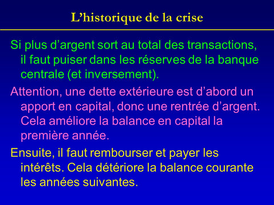 L'historique de la crise Si plus d'argent sort au total des transactions, il faut puiser dans les réserves de la banque centrale (et inversement). Att