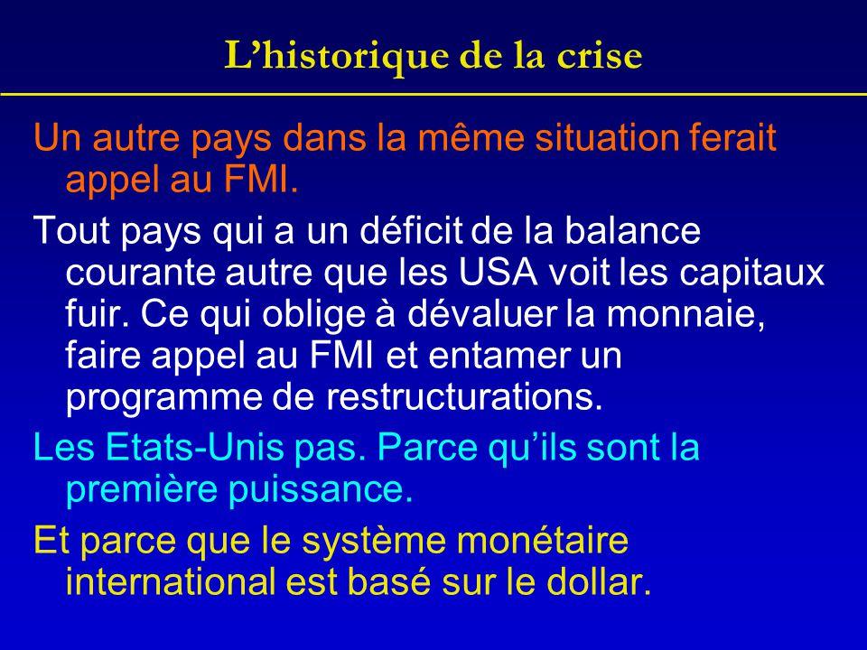 L'historique de la crise Un autre pays dans la même situation ferait appel au FMI. Tout pays qui a un déficit de la balance courante autre que les USA