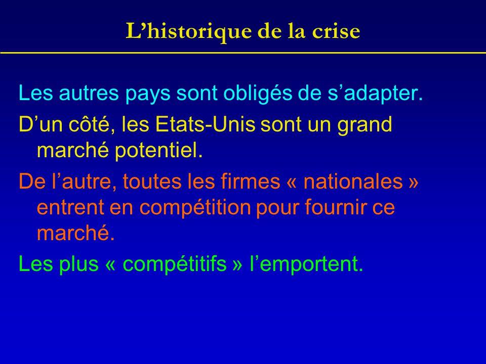 L'historique de la crise Les autres pays sont obligés de s'adapter. D'un côté, les Etats-Unis sont un grand marché potentiel. De l'autre, toutes les f