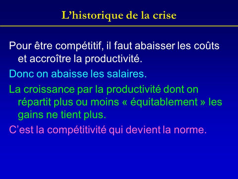 L'historique de la crise Pour être compétitif, il faut abaisser les coûts et accroître la productivité. Donc on abaisse les salaires. La croissance pa