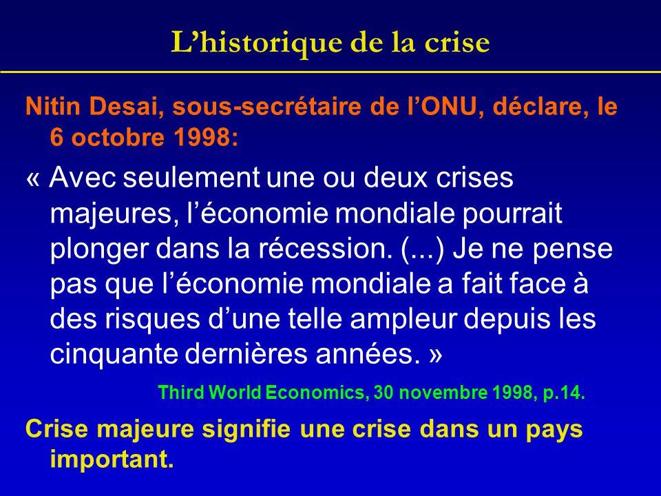 L'historique de la crise Nitin Desai, sous-secrétaire de l'ONU, déclare, le 6 octobre 1998: « Avec seulement une ou deux crises majeures, l'économie m