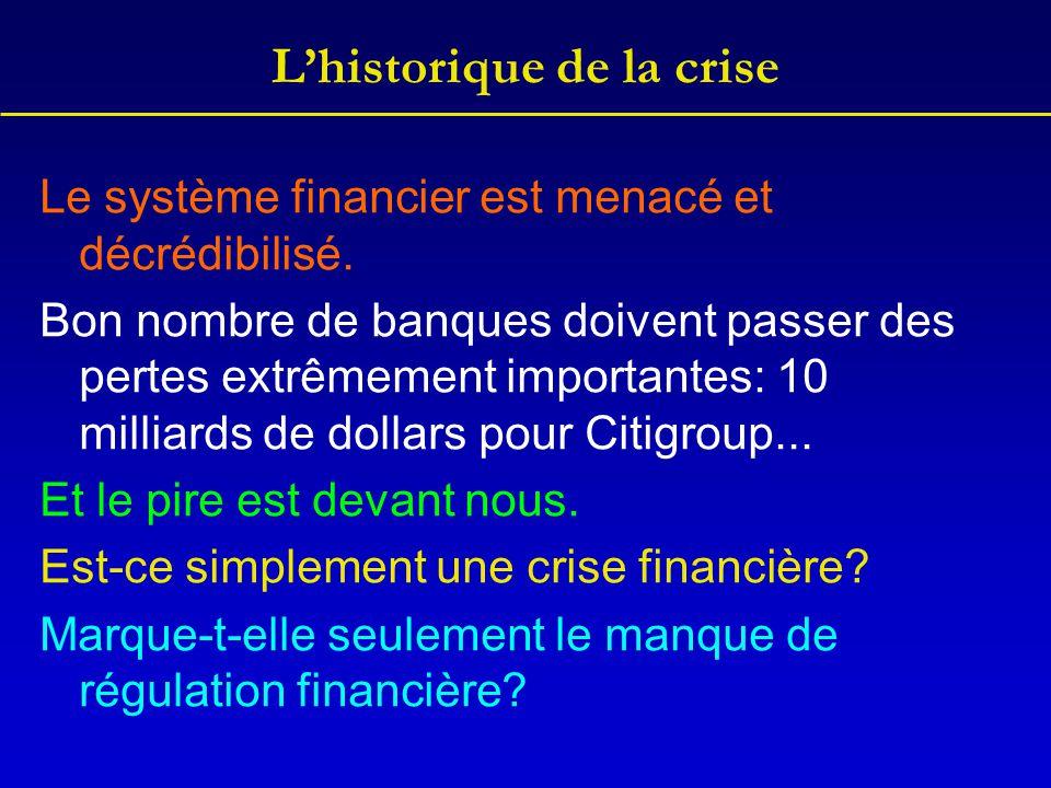 L'historique de la crise Le système financier est menacé et décrédibilisé. Bon nombre de banques doivent passer des pertes extrêmement importantes: 10