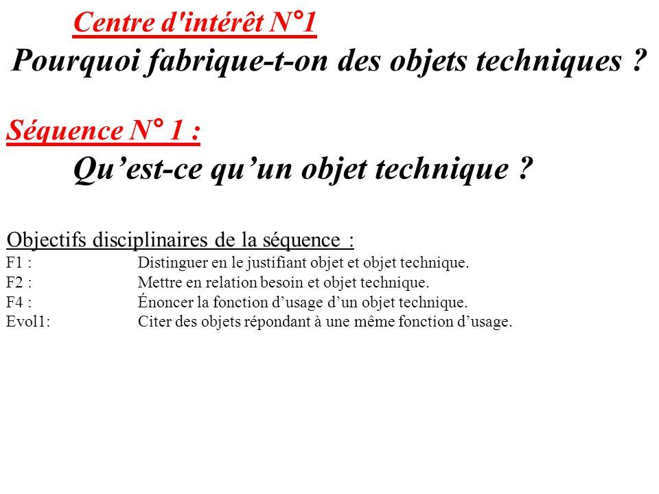 Centre d'intérêt N°1 Pourquoi fabrique-t-on des objets techniques ? Séquence N° 1 : Qu'est-ce qu'un objet technique ? Objectifs disciplinaires de la s