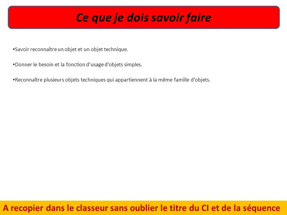 Ce que je dois savoir faire A recopier dans le classeur sans oublier le titre du CI et de la séquence Consignes 1.Recopier dans le classeur. Savoir re