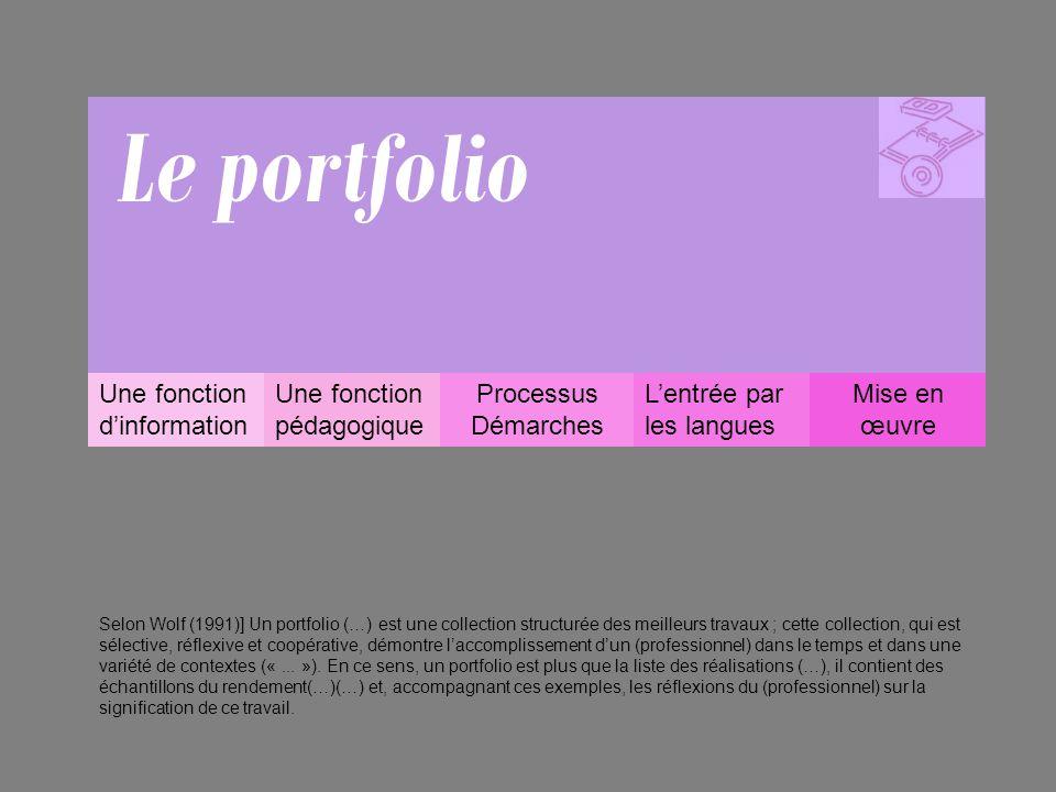 Une fonction d'information –Un portfolio est un document personnalisé, propriété de l'apprenant, qui témoigne de son itinéraire d'apprentissage, de ses efforts, de ses acquisitions, de ses diplômes mais aussi de ses expériences personnelles et de ses réalisations.