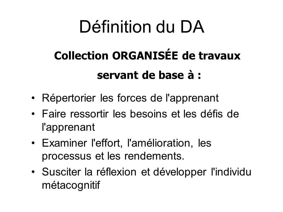 Définition du DA Répertorier les forces de l'apprenant Faire ressortir les besoins et les défis de l'apprenant Examiner l'effort, l'amélioration, les