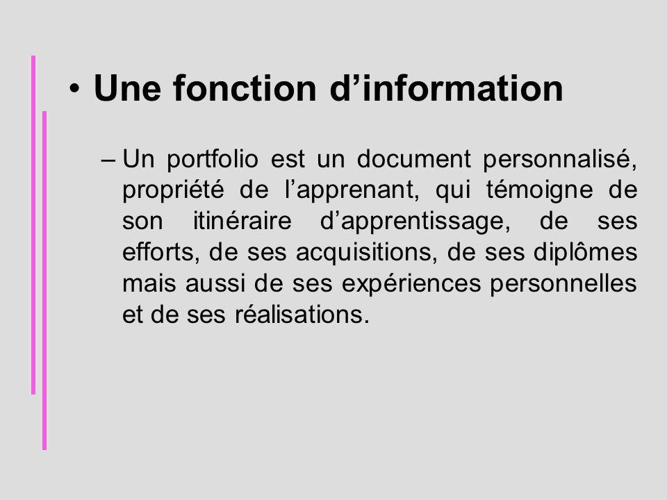 Une fonction d'information –Un portfolio est un document personnalisé, propriété de l'apprenant, qui témoigne de son itinéraire d'apprentissage, de se