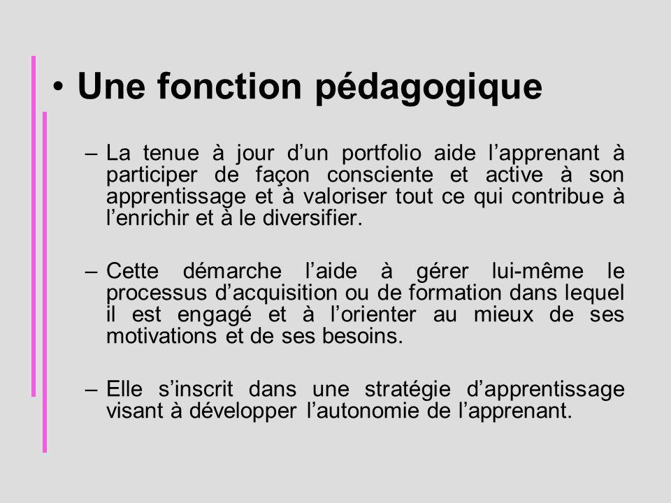 Une fonction pédagogique –La tenue à jour d'un portfolio aide l'apprenant à participer de façon consciente et active à son apprentissage et à valorise
