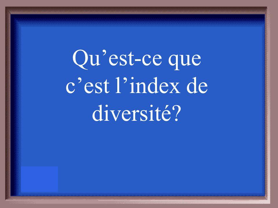 Nombre de séries diviser par le nombre d'espèces et utiliser pour calculer ______________.