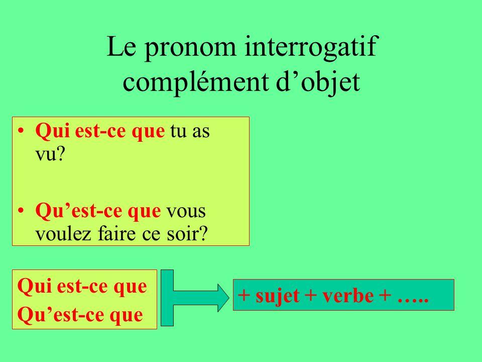 Le pronom interrogatif complément d'objet Qui est-ce que tu as vu.