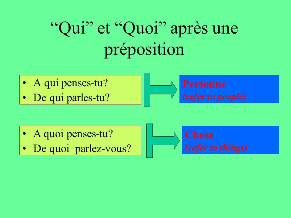 """""""Qui"""" et """"Quoi"""" après une préposition A qui penses-tu? De qui parles-tu? A quoi penses-tu? De quoi parlez-vous? Personne (refer to people) Chose (refe"""