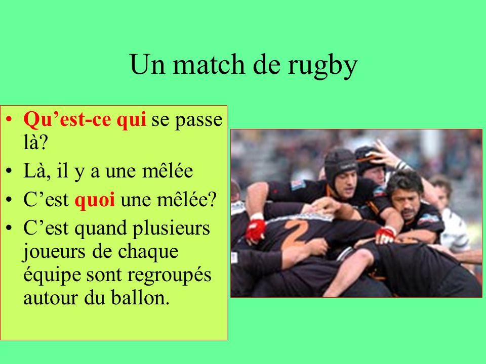 Un match de rugby Qu'est-ce qui se passe là? Là, il y a une mêlée C'est quoi une mêlée? C'est quand plusieurs joueurs de chaque équipe sont regroupés