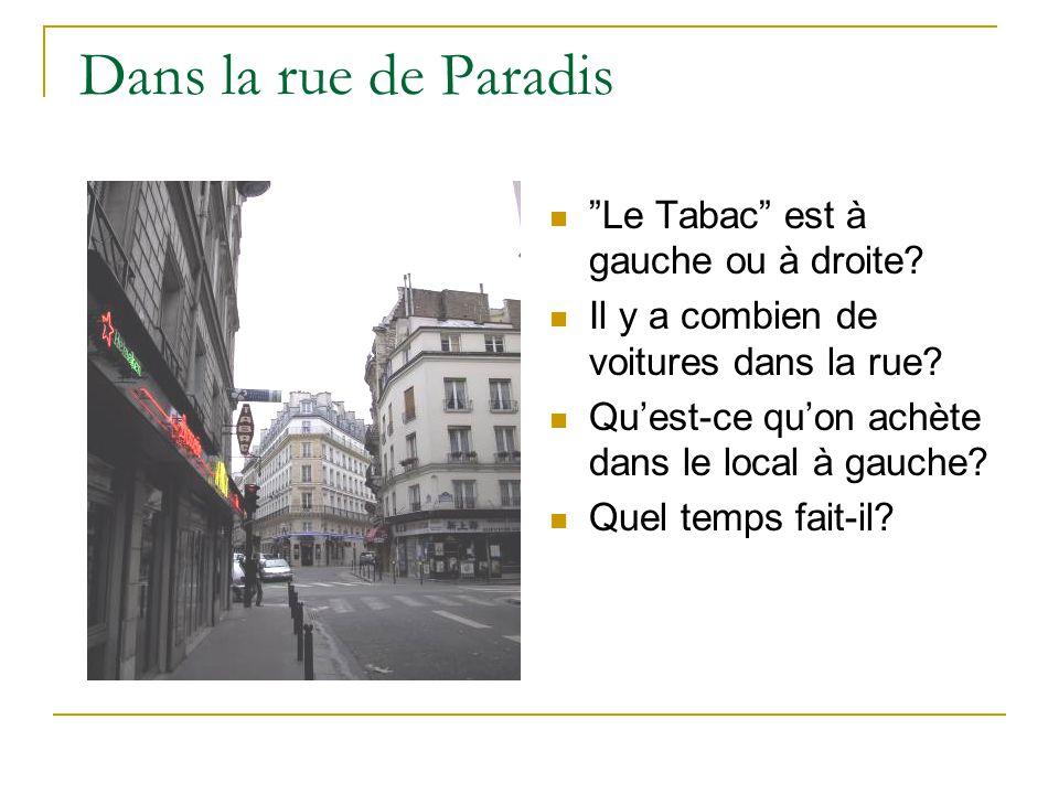 Dans la rue de Paradis Le Tabac est à gauche ou à droite.